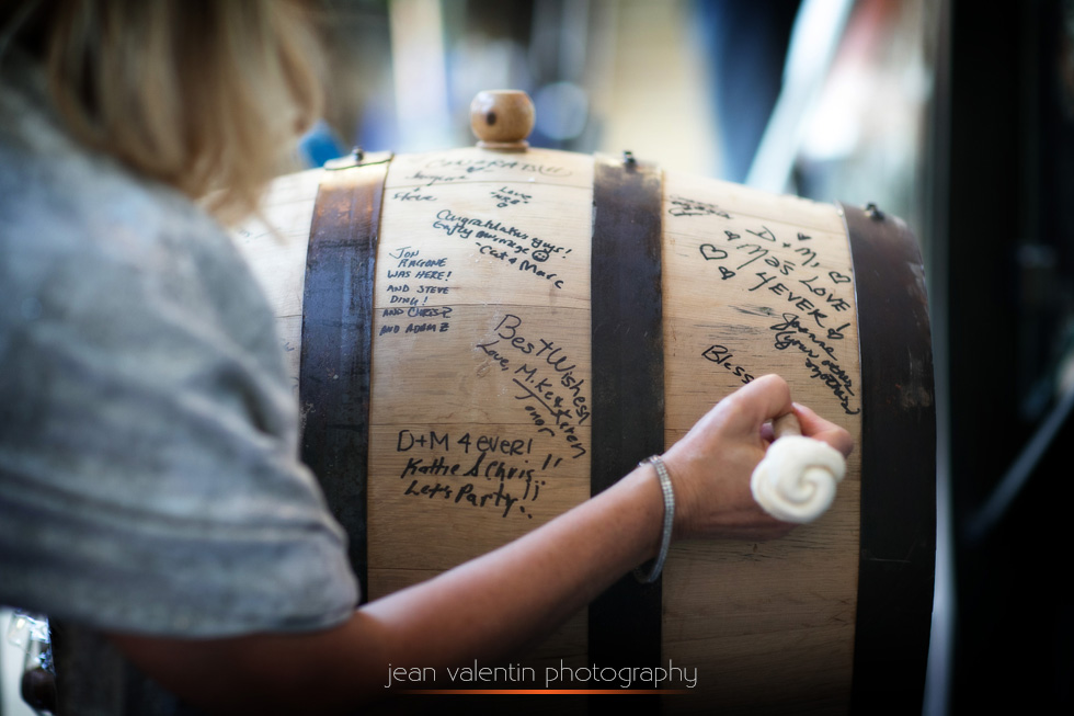 Wine barrel as a guest book