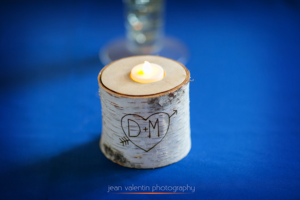 Wood candle holder with initials carved in for wedding