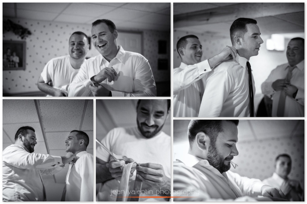 Collage with black and white images of groom and groomsmen getting ready