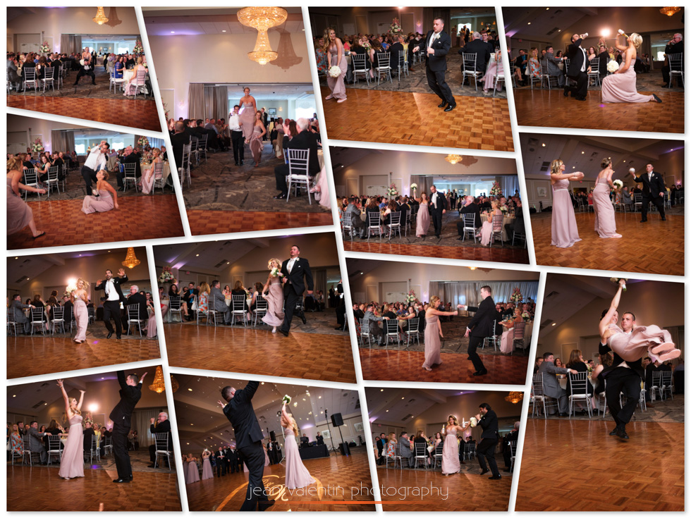 Collage with images of the bridal party grand entrance Springfield Country Club wedding