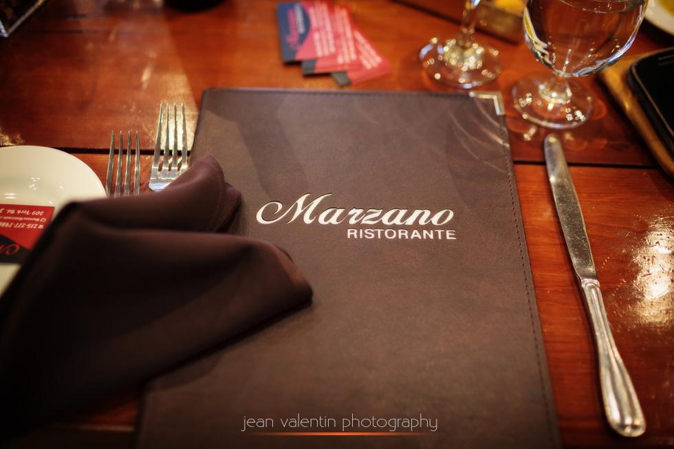 Marzano restaurant menu