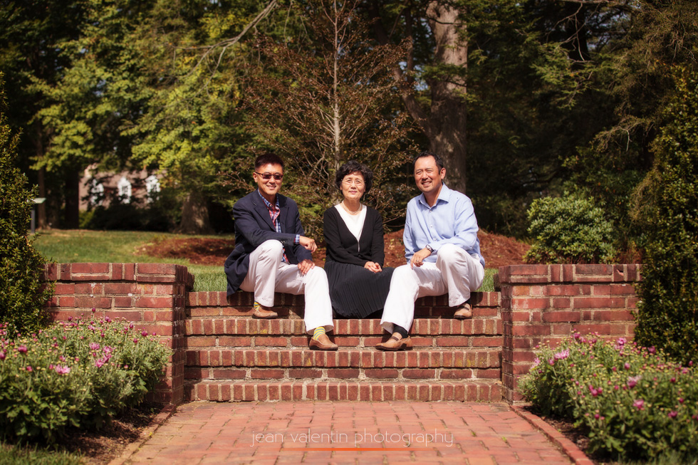 Mom with her two boys (brothers) portrait at Longwood Gardens