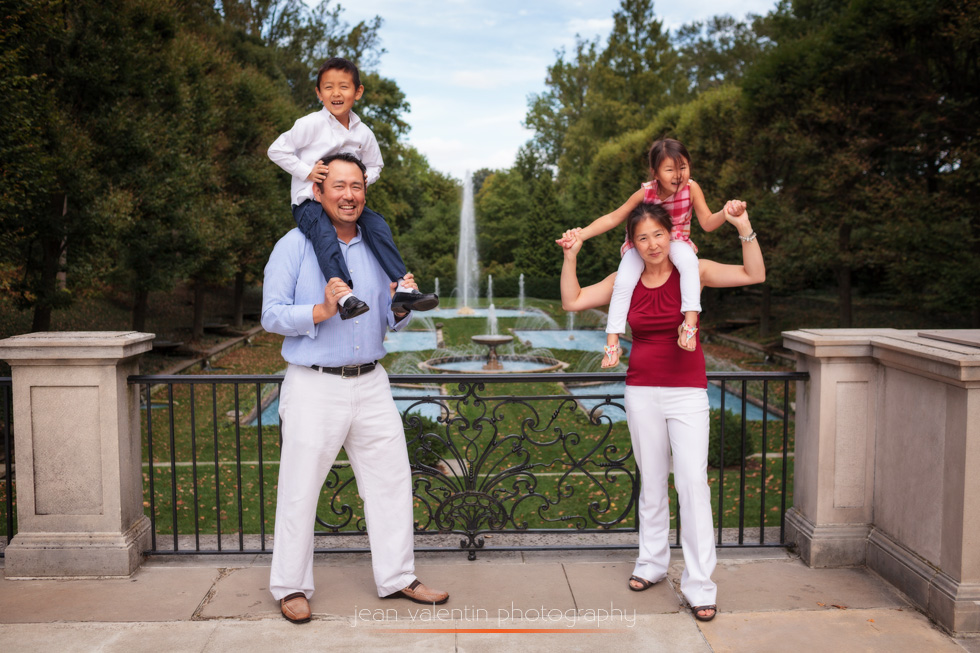 Family portrait at Longwood Gardens by the fountain